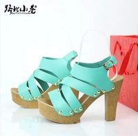 Free Shipping 2014 Fashion pen toe platform shoes for women summer Rivets the heels sandals new fashion woman Shoes