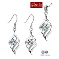 GS Brand Set-5 2014 new  Feather  necklaces&drop earrings fashion ladies' women wedding purple/white double colors jewelry sets