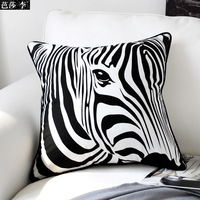 H3102 Classic Creative Black White Zebra Print Cotton Cushion Cover Throw Pillow Case Seat Car Pillow Cover Pad Home Decor Gift