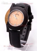 new fashion THY wooded case watch japan quartz movement leather band watches original womens