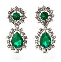 Fashion vintage emerald rhinestone Womens drop earrings Anna Dello Russo long Party Wholesale