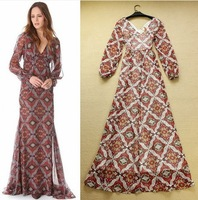 2014 New European Fashion Women V-neck Plaid Print Sexy Long Dress Long Sleeve Maxi Dresses to The Floor