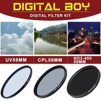 Digital Boy 58mm Camera Filters Kit UV 58mm Filter+58mm C-PL Filters+ND 58mm Neutral Filter for Camera Lens Free Shipping