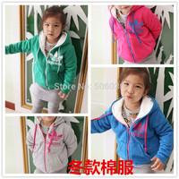 Winter cotton-padded jacket children's clothing zipper plus velvet wadded jacket