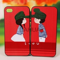 Free Shipping Korean Style Colored Drawing Cartoon Lover Plastic Protective Back Cover Case for iPhone 4/4S