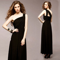 2014 Women's boutique temperament charming evening dress solid shoulder  Cotton shoulder sexy backless black evening dress