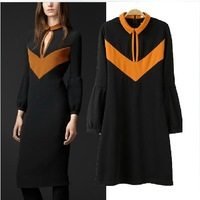 2014  New Fashion classic women's spring color block decoration turn-down collar slim hip skirt one-piece dress