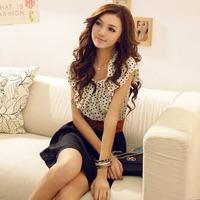 New 2014 winter dress Sweet Polka Dot chiffon cute casual Dress for women SML260