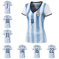 A+++ Top Thailand Argentina Kit 2014 World Cup Women Girl Lady Futbol Soccer Jersey Custom Messi Tevez Higuain Lavezzi Maradona