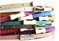 Hot-Sale Genuine Leather (Pigskin) Slender Belt fluorescent mixed color waist belt adjustable leather belt my belt