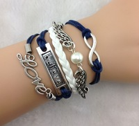 Min. is 10$ Infinity,love ,Believe Bracelet And Silver Wings bracelet - - Pearl Bracelet--navy blue Wax Cords, Leather Braid