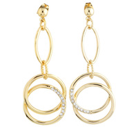 Free Shipping new 2014 Fashion Elegant Gold Plated Linked Round Circles drop dangle earring For Women Jewelry Wholesale