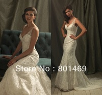 Modified 2014 A Line  Wedding Dress V Neck V Back  Sleeveless Beaded  Appliques Bodice Ruched Tulle Bridal Gown