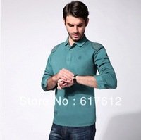 M-6XL Plus Size BRAND 2014 Free Shipping Mens's Long sleeve casual shirts fashion men leisure long-sleeved polo shirt