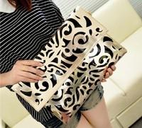 New 2014 fashion women's leather block handbags vintage shoulder bag  messenger bags envelope purse clutch  free shipping