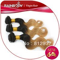 Rainbow Hair  6A Grade Omber Hair Body Wave Brazilian  Human Hair 3 Bundles / Package