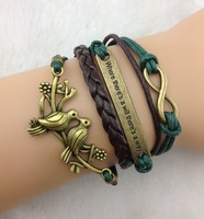 "Min. is 10$ Infinity, ""Where there is a will, there is a way"" & Loving Birds Charm Bracelet in Bronze-Wax Cords and Leather"