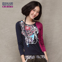 2014 spring basic shirt formal beading slim all-match o-neck long-sleeve T-shirt 1430