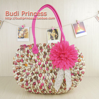 Free postage new straw bag fashion all-match Bohemia wind sand bag rattan knitting weaving shoulder bags