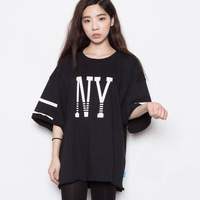 2014 spring street hiphop street ny letter sweatshirt loose t-shirt 5 short-sleeve female