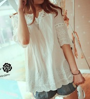 Cotton embroidery wave laciness sleeves wave sweep chest buttons cotton short-sleeve shirt white cute shirt