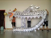3 JOINT silver golden brand new dragon dance mascot costume china special culture holiday party