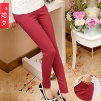 2014  Spring of the paragraph was thin elastic cotton twill pocket  ladies feet pencil pants Leggings