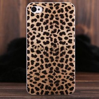 Free Shipping European Style Leopard Pattern Plastic Protective Back Cover Case for iPhone 4/4S
