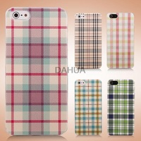Free Shipping New England Style Grid Pattern Plastic Protective Back Cover Case for iPhone 5/5S