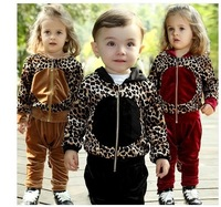 1-3 years old infants fashion leopard Spring Suite  Free Shipping