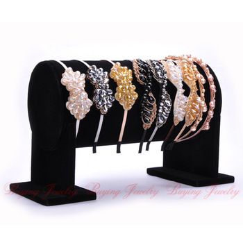 Luxury Black Suede Side Horse Cylindric Hair Bands Jewelry Display Holder Stand Valentine's ...