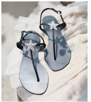 Bohemia 2014 sandals female beaded Star Diamond flat flip-flop flats plus size women's shoes Free shipping