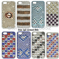 Fashion Diamonds Encrusted Electroplating Skinning Bling Bling Case for iPhone 5 & 5S+1pc screen protector