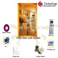 RF Hotel  door card key lock  system   (1pc ET100RF  lock,1pc encoder ,5pcs cards,1pc switch, software)