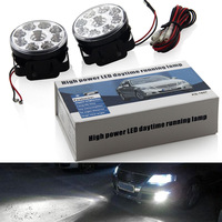 Super Bright 9 LED Car Light White DRL LED Daytime Running Light LED Fog Light Head Lamp 2pcs