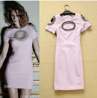 New 2014 Cutout Designer Pink Cocktail Party Club Sexy Dress Beaded Mini Dresses Women Clothing Spring Fashion
