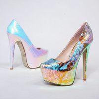 2 Colors ! 35-42 ! 2014 New Arrival Quality PU Plus Size 4.5cm Flatform Wedding Shoes 16cm High Heel Women Shoes