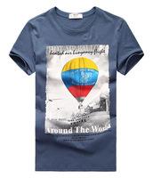 Men's clothing male summer o-neck print short-sleeve t-shirt 100% cotton short-sleeve cotton white blue black