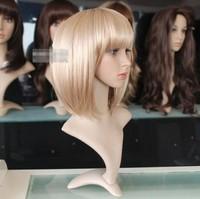 Cute Platinum Blonde Woman Short Bob Cosplay Straight Party Hair wig