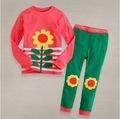100% cotton 1pc retail 2-7 years girls pajamas flower sets fashion sleepwear