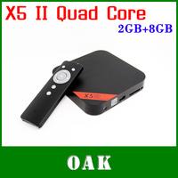 Free Shipping - X5 II Quad Core Android 4.2.2 TV Box/Mini PC RK3188 2GB DDR3+8GB Built-in Bluetooth/WiFi  RJ45 Port