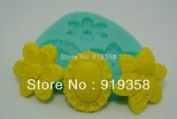 Free Shipping New Style 3-hole Flower Decorations Chocolate Mold Silicone Fondant Cake Decoration Silicone Cake Mold (WX-096)