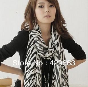 Free shipping Korean female zebra scarf High Quality Chiffon Scarf long design Wholesale(China (Mainland))