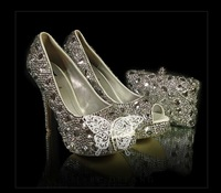 handmade Customized high heel Platform wedding shoes women high heel shoes platforms rhinestone, wedding package, hand bag.