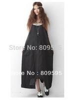 Free shipping , 2014 women ladies Linen spaghetti strap one-piece dress two ways skorts full dress