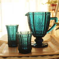 2014 Blue vintage relief glass canisters water cup tea set pot cup zakka