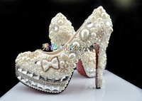 Hottest fashion crystal shoes with pearl ,Wedding high heel crystal pump,Handmade Luxury dress shoes free shipping