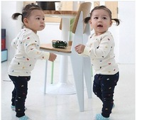 3pcs/lot Baby Clothing Sets Baby suit polo sleeved sports and leisure suits boy suit baby girl baby pajamas children's sweaters