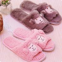 Sleep sheep alpaca open toe slip-resistant massage floor lovers slippers home shoes little sheep slippers