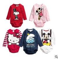 Free shipping wholesale new fashion 2014 cartoon baby romper,full sleeve baby clothing,girls boys jumpsuit,babies clothing